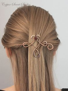 Celtic Hair Clip with Dark Red Brecciated by CopperStreetStudios