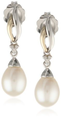 S&G Sterling Silver and 14k Yellow Gold Freshwater Cultured Pearl and Diamond Drop Earrings (0.01 cttw, I-J Color, I3 Clarity) - Fashion Jew...
