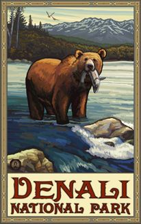 Banff National Park/Brown Bear With Fish Poster Us National Parks, Banff National Park, Wpa National Park Posters, Photo Vintage, Vintage Art, Vintage Makeup, Flowers Wallpaper, Poster Photo, Art Watercolor