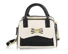Betsey Johnson Womens Bow Bow Mini Dome Satchel BlackWhite Satchel * You can find more details by visiting the image link.Note:It is affiliate link to Amazon.