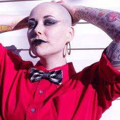 #throwbackthursday March 2017 #baldgirl #baldisbeautiful #bald365 #tattoo #tattoos #tattooedgirls #bowtie #bowtiesarecool #altgirl
