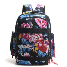 Vintage Flower Canvas Travelling Backpack