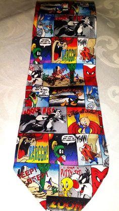 Looney Tunes Silk Men's Tie Bugs Bunny Taz Daffy Tweety Novelty Cartoon Mania #LooneyTunes #Tie