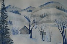 Blue white winter painting snow scene original watercolor