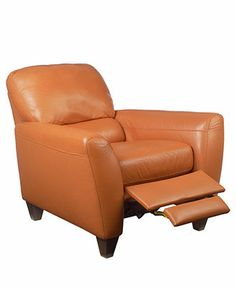 "Almafi Leather Recliner Chair, 38""W x 38""D x 36""H - Chairs - furniture - Macy's"
