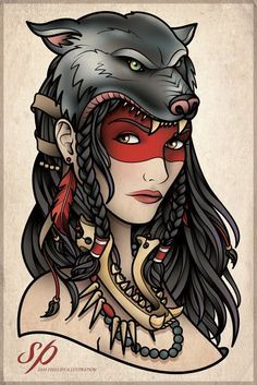 native american woman tattoo with a wolf - Google Search