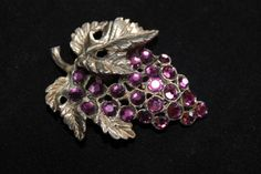 1920s Dress Clip Brooch Grapes Wine Purple by SomeLoveItVintage
