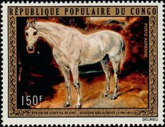 Stamp: White Horse (Congo, Republic (Brazzaville)) (Paintings by Delacroix - Animals) Mi:CG 369,Sn:CG C157
