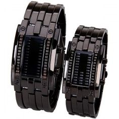 $19.88 Valentine Waterproof Watch with Blue Light Time-Date Indicate Steel Watchband for Couple