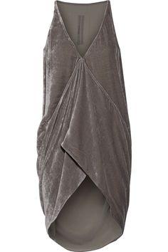 Gray velvet Slips on 83% viscose, 17% silk Dry clean Designer color: Fog Made in Italy