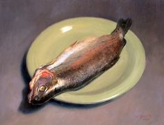 Jonathan Queen - Dressed Trout on Plate 2008 Hyperrealism, Photorealism, Beautiful Paintings, Still Life, Queen, Fine Art, Trout, Oil Paintings, Food Photo