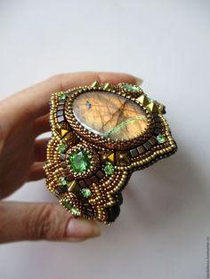 """Купить Браслет с лабрадоритом """"Отражение солнца"""" - комбинированный, Браслет ручной работы, браслет с камнем"""