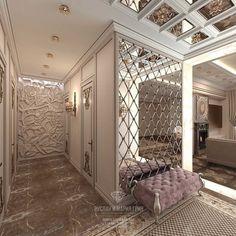 Современная идея дизайна прихожей с фацетированным зеркалом: фото Wall Design, House Design, Mirror Walls, Mirror Ceiling, Luxury Home Decor, Luxury Homes, Diy Home Decor, Residential Complex, Wall Seating