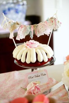 Cute fabric bunting for a cake topper! More ideas via Kara's Party Ideas KarasPartyIdeas.com #shabby #chic #bridal #baby #shower #birthday #party