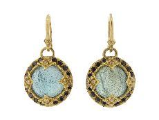 Round Labradorite Earrings with Black Diamond Frame...by Emily Armenta