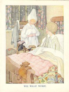 1920s Vintage  Anne Anderson Childrens Nursery Rhyme  Print - Wee Willie Winkie - Childs Bedtime