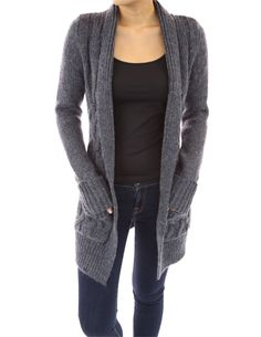PattyBoutik Wool Blend Pockets Open Front Sweater Cardigan (Heather Blue S)