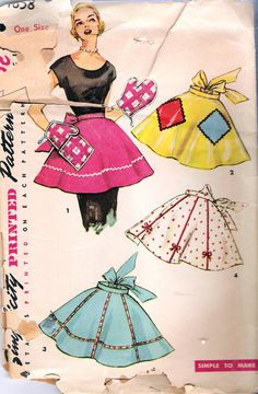 Vintage 1950s Simplicity 4858 Misses One Size Apron Sewing Pattern on Etsy, $6.00