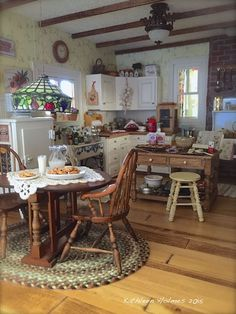 Making chocolate chip cookies in Kathleen Holmes dollhouse kitchen