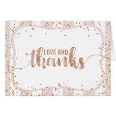 #wedding #thankyoucards - #Sand Stripes & Rose Gold Confetti Thank You Card