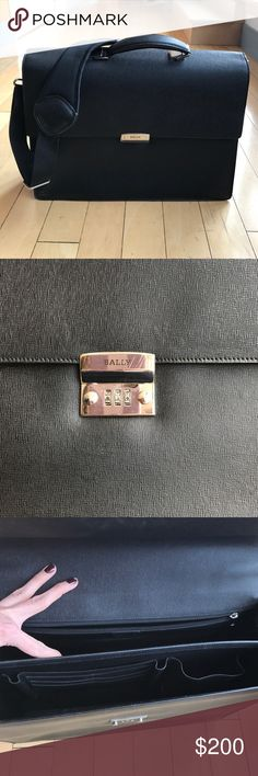 Bally leather briefcase • gorgeous black leather briefcase (dimensions are 16 x 12 x 5  1/4 inches at the bottom) with minimal signs of wear (closure/lock has a few scuffs,  front and inside back pocket has a few scratches, bottom is in perfect condition, as shown in pics) Grained calf leather; silver, combination lock clasp closure • Adjustable shoulder strap (not the original one...my husband changed it out for a comfier adjustable cushioned strap) • Top handle • Divided compartment Bally…
