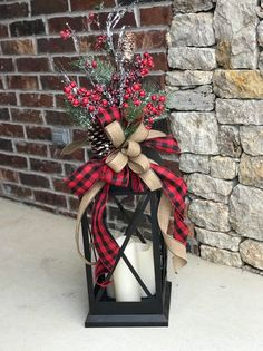 XL Large christmas lantern swag, winter lantern swag, woodland holiday decor, rustic lantern swag, f - Christmas decorations crafts Farmhouse Christmas Decor, Outdoor Christmas Decorations, Christmas Home, Christmas Holidays, Farmhouse Decor, Lantern Christmas Decor, Christmas Centerpieces For Table, Plaid Christmas, Western Christmas Decorations