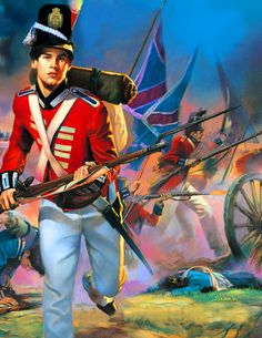 British infantry charging across the battlefield, War of 1812