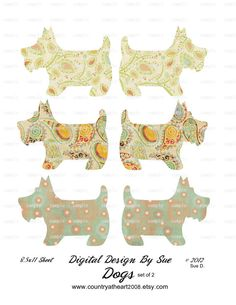 Descarga inmediata - Perros - Conjunto de 2 Hojas - Pulgadas 8.5x11 Hojas - Para imprimir collage digital de la Hoja - Descarga Digital