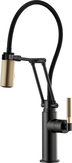 Cozy Home Interior Brizo Litze Single Handle Articulating Kitchen Faucet with Knurled Handl Matte Black / Luxe Gold Faucet Kitchen Single Handle Kitchen Sink Faucets, New Kitchen Cabinets, Kitchen Layout, Kitchen Countertops, Kitchen And Bath, Bathroom Faucets, Basic Kitchen, Laminate Countertops, Bathrooms