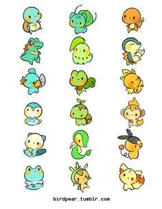 Awe, such cute chibi Pokemon. Fotos Do Pokemon, Pokemon Fan Art, All Pokemon, Pokemon Tumblr, Kawaii Drawings, Cute Drawings, Pokemon Starters, Bulbasaur, Mudkip