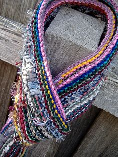 "Use up those scraps, using ""crazy yarn"". Left over bits knotted together. Love this!"