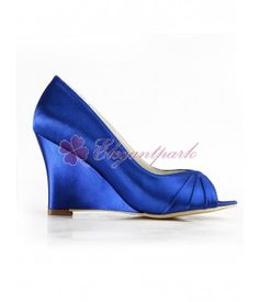 Blue Peep Toe Wedge Heel Satin Wedges Evening Party/Bridal Shoes - Wedding & Party Shoes