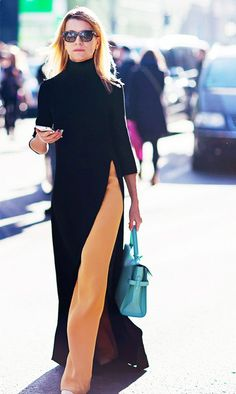 Need some help pulling off the dress over pants trend? These examples will show you exactly how to wear a dress over pants. Dress Over Pants, Maxi Dress With Sleeves, Slit Dress, Sleeve Dresses, Look Fashion, Fashion Outfits, Womens Fashion, Fashion Trends, Trendy Fashion