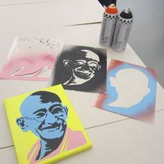 Plutonium™ Paint x Leo Hayes High School 12th Grade Stencil Art Class - New Brunswick, Canada. Three Layer Custom Cut #Ghandi Stencil by the students. --> #PlutoniumPaint #SprayPaint #Art #StencilArt #Stencil #ArtEducation #MadeInTheUSA