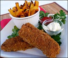Deep-fried fish with fried potatoes -- high in fat and calories?!   A typical portion of this decadent duo will rack up close to 1,000 calories and 55g fat between the fries and fish... and that's even BEFORE you add the tartar sauce. THAT can easily tack another 200 calories and 20g fat onto your meal.  Ours 304 cal for entire recipe with 2.75 gr. fat