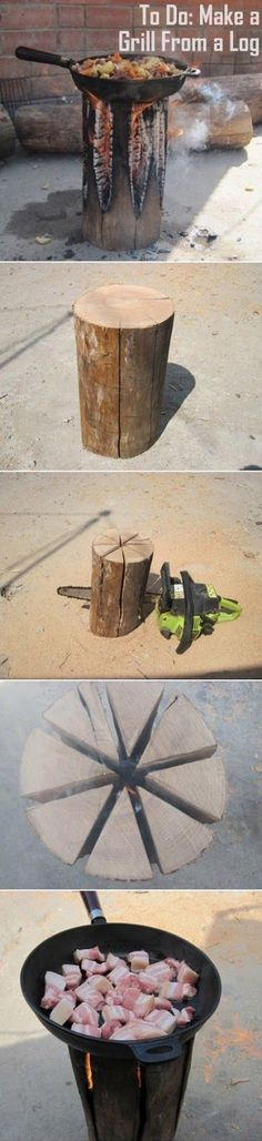 Start with a stump (looks more like a thick chunk of firewood to me, but hey we'll call it a stump to not argue). Use a chain saw to cut most of the way through the stump in wedge shapes. Leave the bo