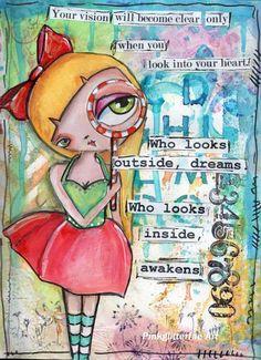 Big eyed girl, Inspirational Art, Children's Art, home decor, Illustration, Cute…