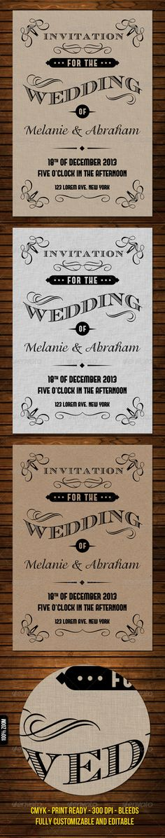 Old Vintage Wedding Invitation — Photoshop PSD #carton #couple • Available here → https://graphicriver.net/item/old-vintage-wedding-invitation/2080757?ref=pxcr
