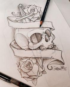 ref - art and sketching tattoo drawings Badass Drawings, Dark Art Drawings, Pencil Art Drawings, Art Drawings Sketches, Tattoo Sketches, Cute Drawings, Skull Drawings, Skull Tattoo Design, Tattoo Design Drawings