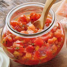トマトサルサ Gourmet Recipes, Dinner Recipes, Cooking Recipes, Healthy Recipes, Vegetable Dishes, Vegetable Recipes, Huhot Recipe, Cooking Tomatoes, Cooking Sauces