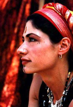 Indigo tribal facial tattoos