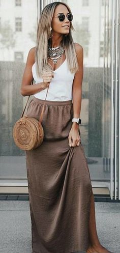 #fall #outfits women's brown maxi skirt