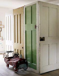 reclaimed doors used as walls