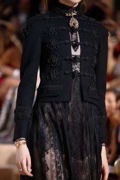 Lady in Black, Black, Fashion, Black Lace, Style, Chic, Glamour, Blouse, Feminine, Chiffon, Lace  blouse, Valentino, Haute couture, Fall/winter 2015-2016