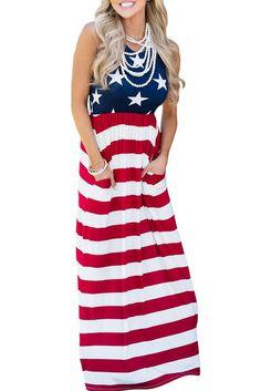 Sleeveless Country Love American Flag Maxi Dress modeshe.com