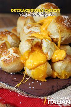 Outrageously Cheesy Stuffed Pretzel Bombs
