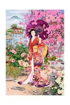 "Goldmilky cross stitch kit '' Japanese Geisha in Spring Garden"" inch Geisha Kunst, Art Geisha, Japan Kultur, Graffiti Kunst, Art Chinois, Bild Tattoos, Art Asiatique, Art Japonais, Japanese Embroidery"