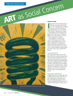Art as Social Concern #HighSchool #ArtEducation #ArtEd #ArtLesson #Sketchbook #WomenArtists #SocialConcern #LinoleumPrint