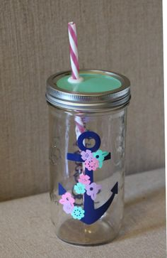 Personalized Mason Jar Tumbler // Anchor with by HouseOfJars, $18.50