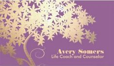 Tree of Life Health and Wellness Purple Business Card - $25.95 Personalize these elegantly designed classic gold tree life coach business cards with a lavender background by adding the name of the professionally trained counselor.